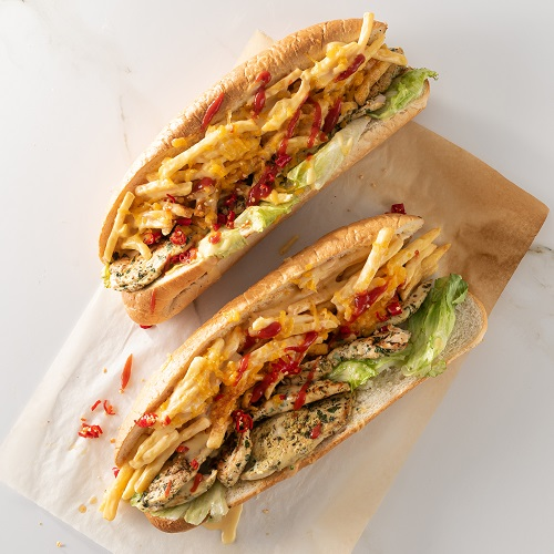 Potatonation recipe - Cape Town style chicken Gatsby with juicy chips and drenched in yummy cheese sauce - featured image