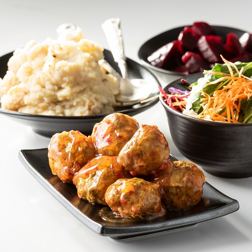 Potatonation recipe - Best-ever mashed potatoes served with juice meatballs and salad - featured image