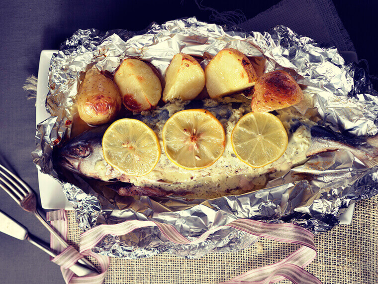 Baked fish served with a warm creamy sauce