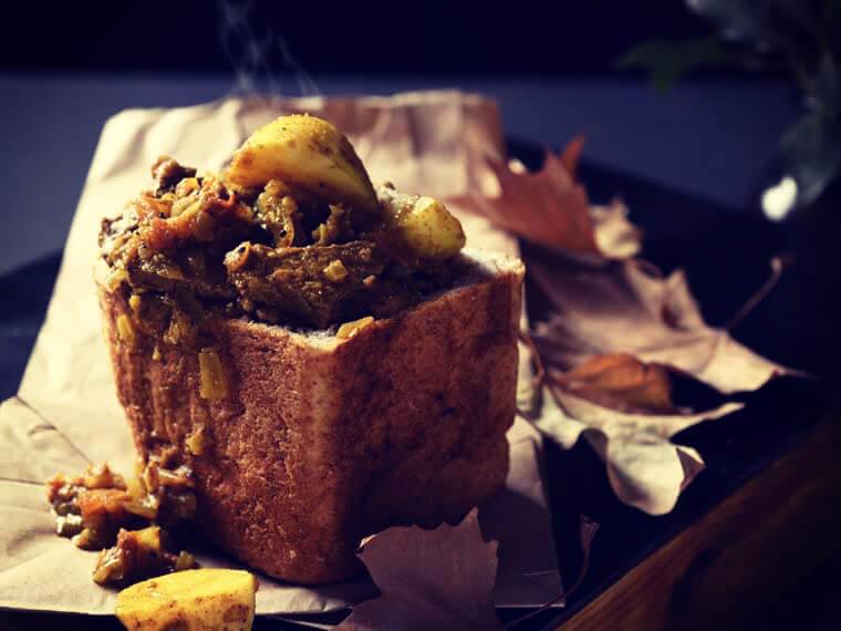 Indian lamb curry bunny chow