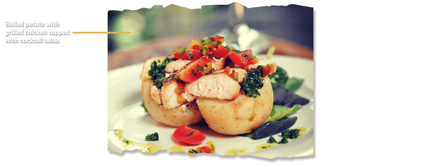 Boiled Potato with Grilled Chicken and rocket Pesto topped with Cocktail Salsa